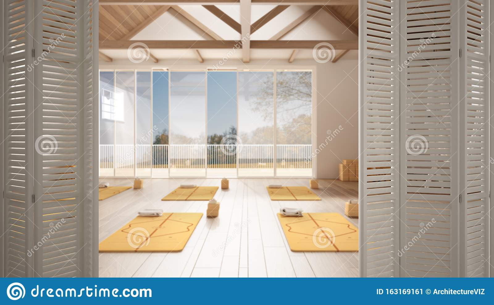 White Folding Door Opening On Empty Yoga Studio Interior Design Minimal Open Space With Mats And Accessories Wooden Roof Ready Stock Image Image Of Background Mock 163169161