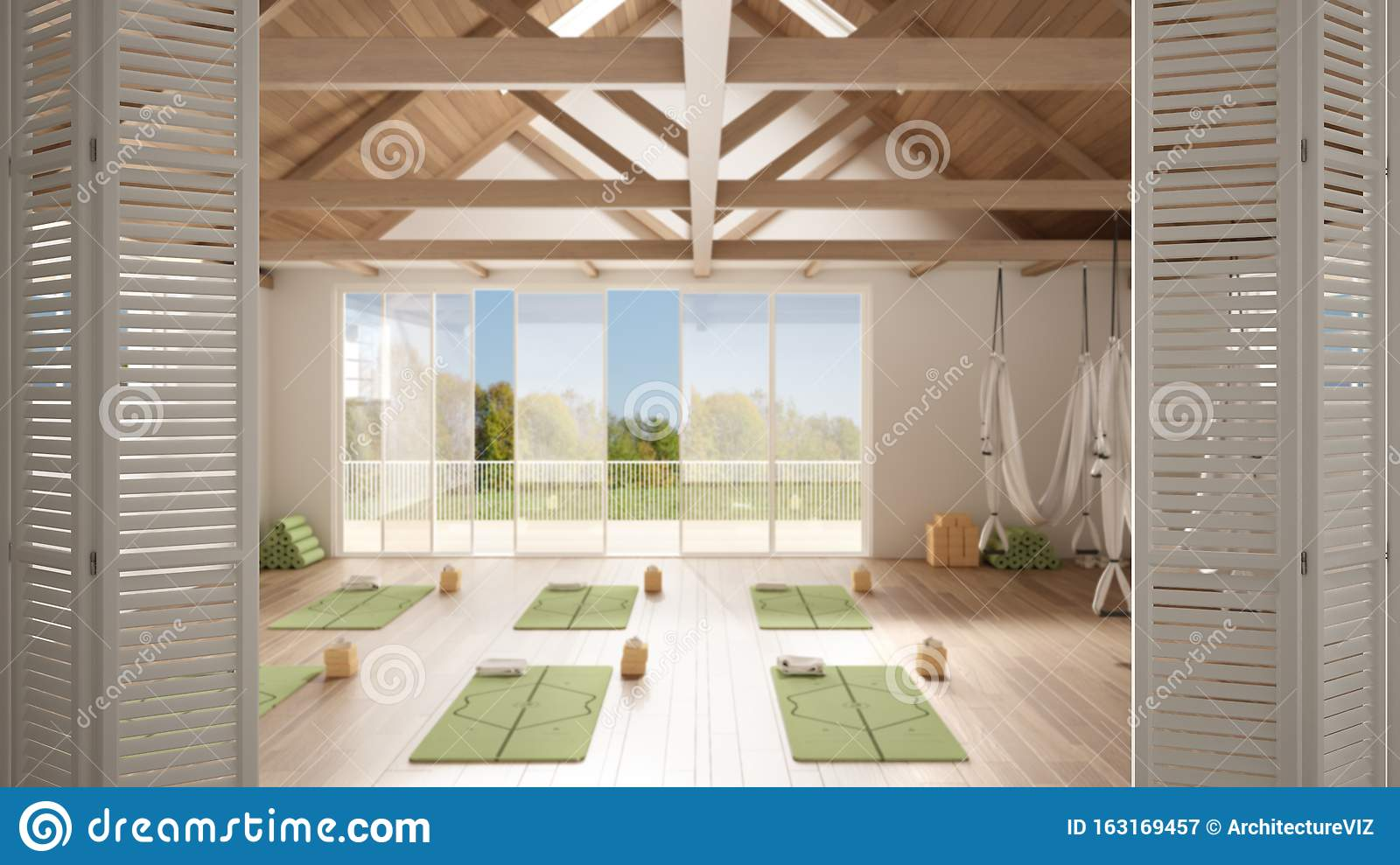 White Folding Door Opening On Empty Yoga Studio Interior Design Minimal Open Space With Mats And Accessories Wooden Roof Ready Stock Illustration Illustration Of Creative Project 163169457