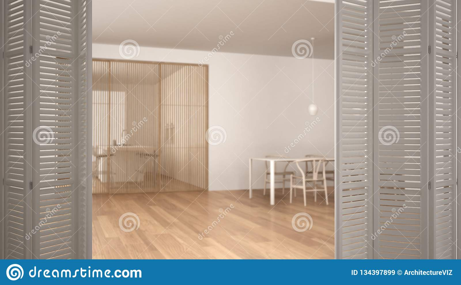 White Folding Door Opening On Minimalist And Wooden Living Room With Dining Table Sliding