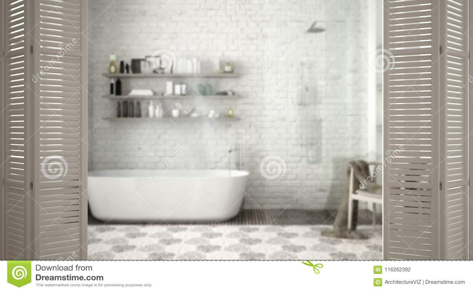 White Folding Door Opening On Modern Classic Bathroom With Bathtub