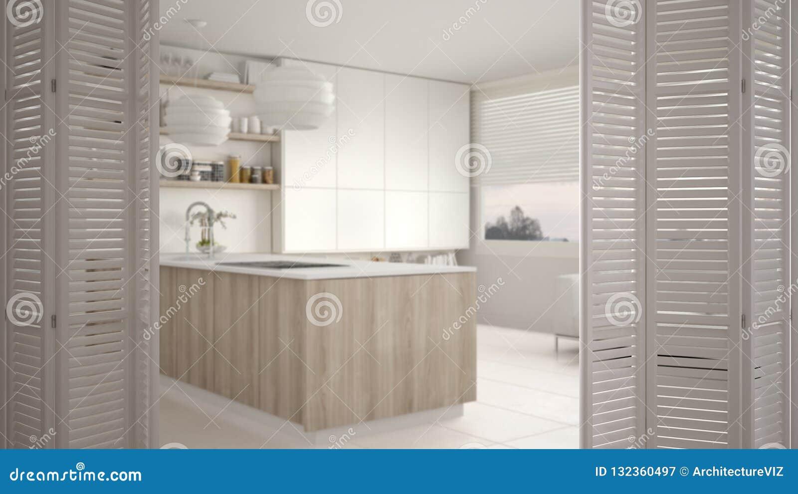 White Folding Door Opening On Modern Luxury Contemporary