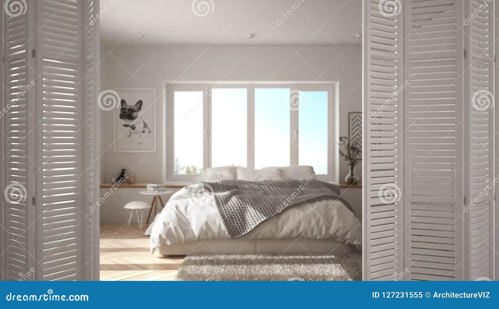 White Folding Door Opening On Modern Minimalist Bedroom With