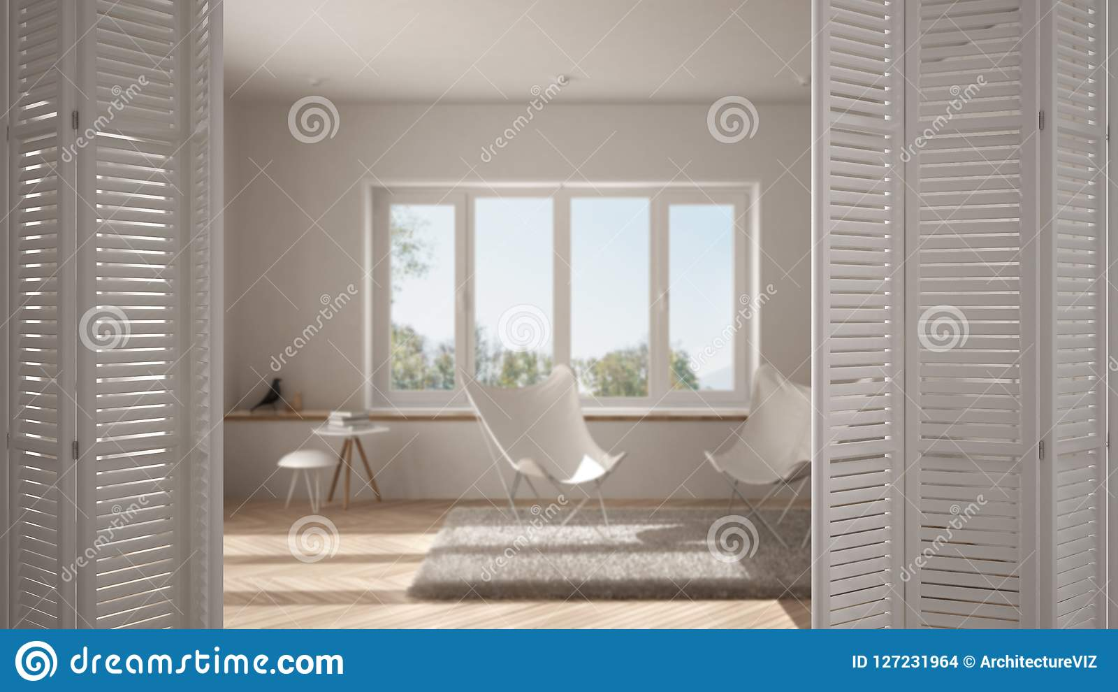 White Folding Door Opening On Modern Minimalist Living Room With Big  Window, Spiral Staircase,