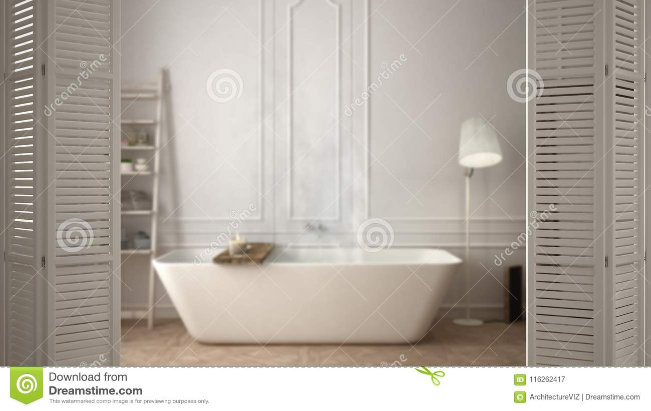 White Folding Door Opening On Modern Scandinavian Bathroom With Bathtub White Interior Design Architect Designer Concept Blur B Stock Illustration Illustration Of Background Folding 116262417