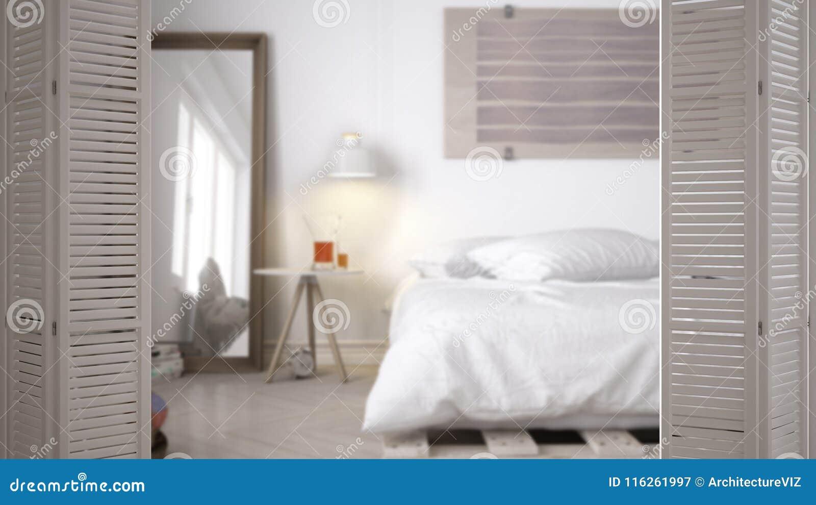 White Folding Door Opening On Modern Scandinavian Minimalist Bedroom