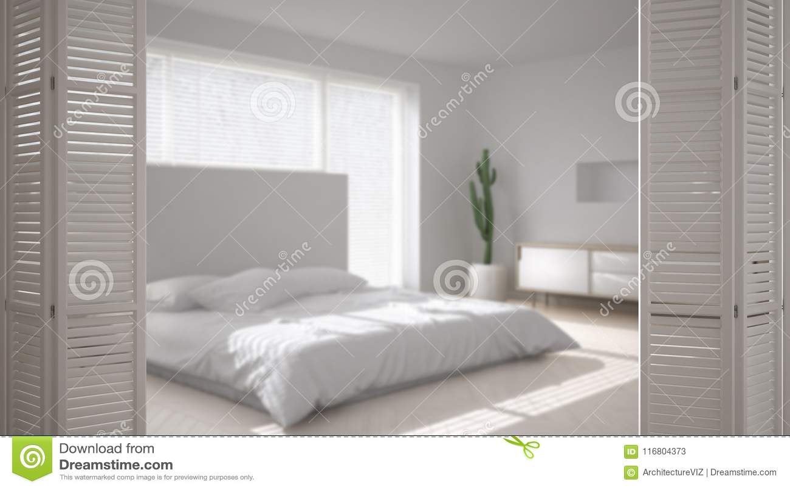 White Folding Door Opening On Modern Scandinavian Minimalist Bedroom White Interior Design Architect Designer Concept Blur Back Stock Illustration Illustration Of House Window 116804373