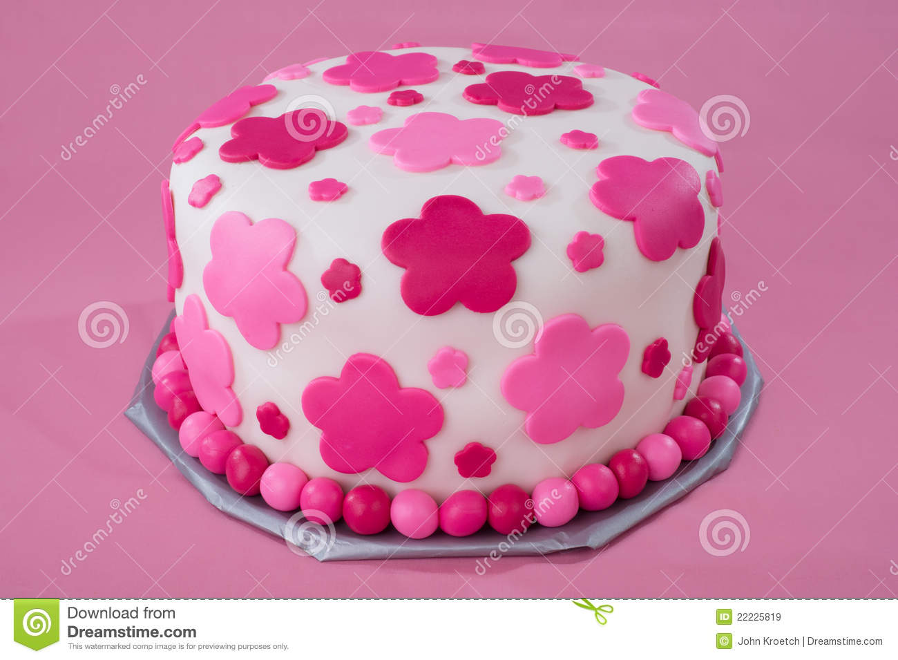 Awesome White Fondant Cake With Pink Flowers Stock Image Image Of Funny Birthday Cards Online Hetedamsfinfo