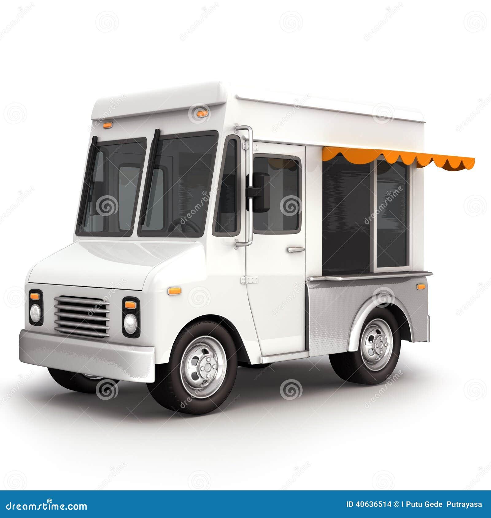 White Food Truck Top Illustration 40636514