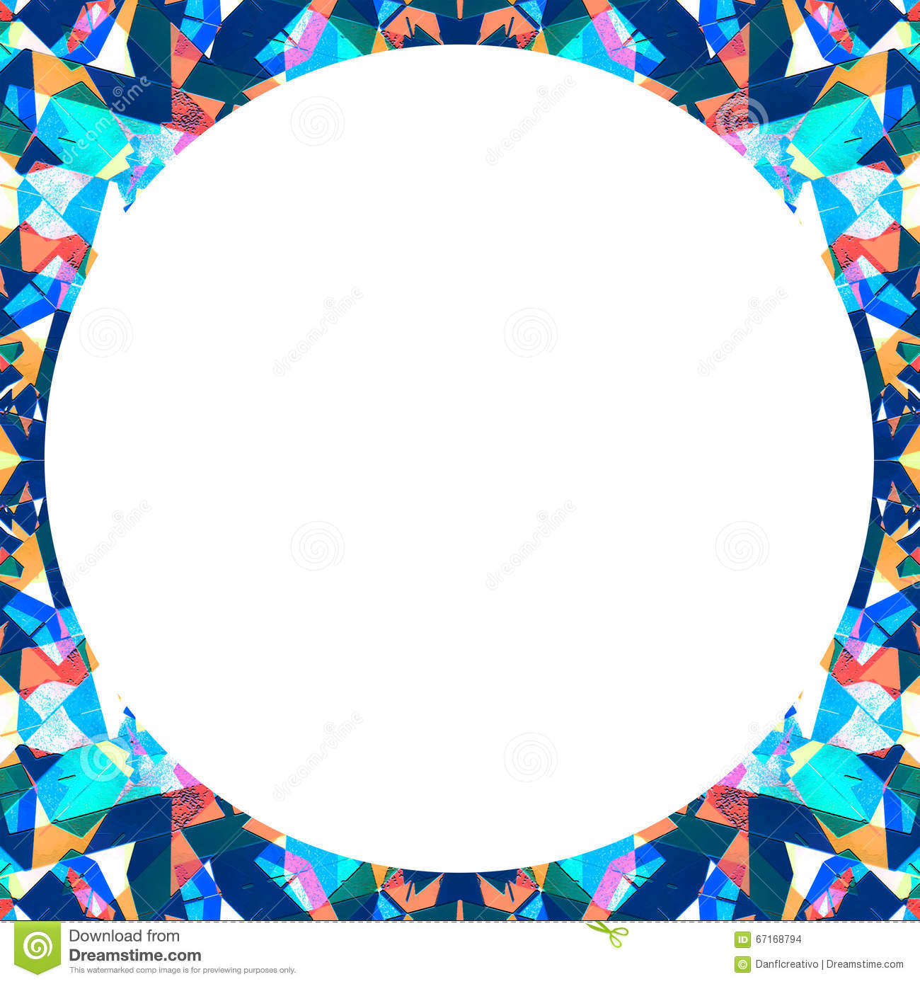 White Frame With Circular Multicolor Collage Pattern Borders Stock