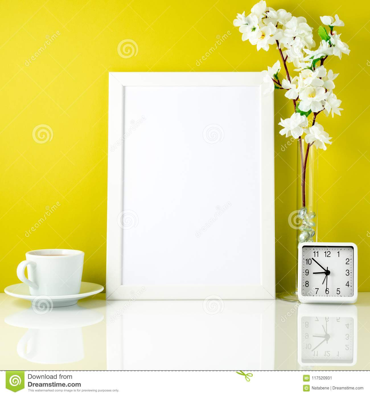 White Frame, Flower In Vase, Cup With Tea Or Coffee, Clock On Wh ...