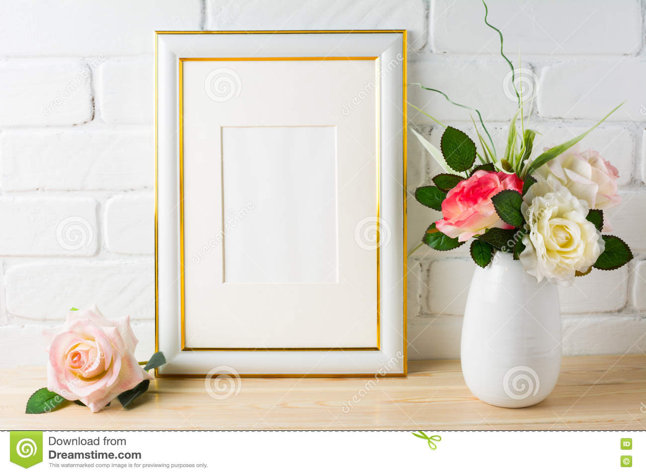 3c6b47e80f15 White Frame Mockup On Brick Wall With Roses Stock Photo - Image of ...