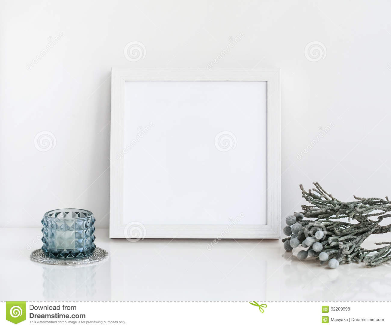 White Frame Mockup With Brunia And Candle. Stock Photo - Image of ...
