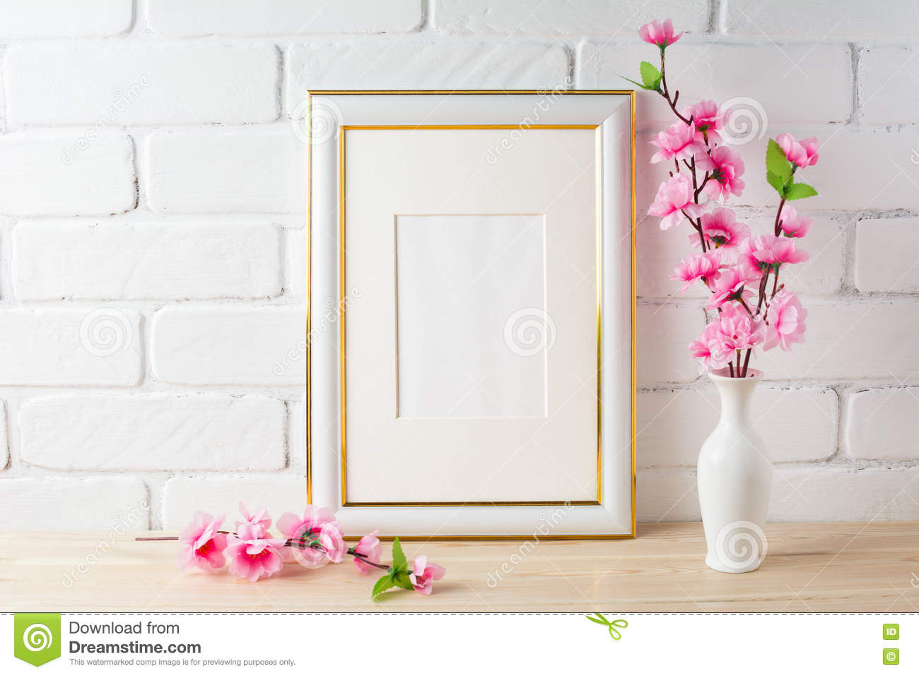 white frame mockup with pink flower bunch stock image image of