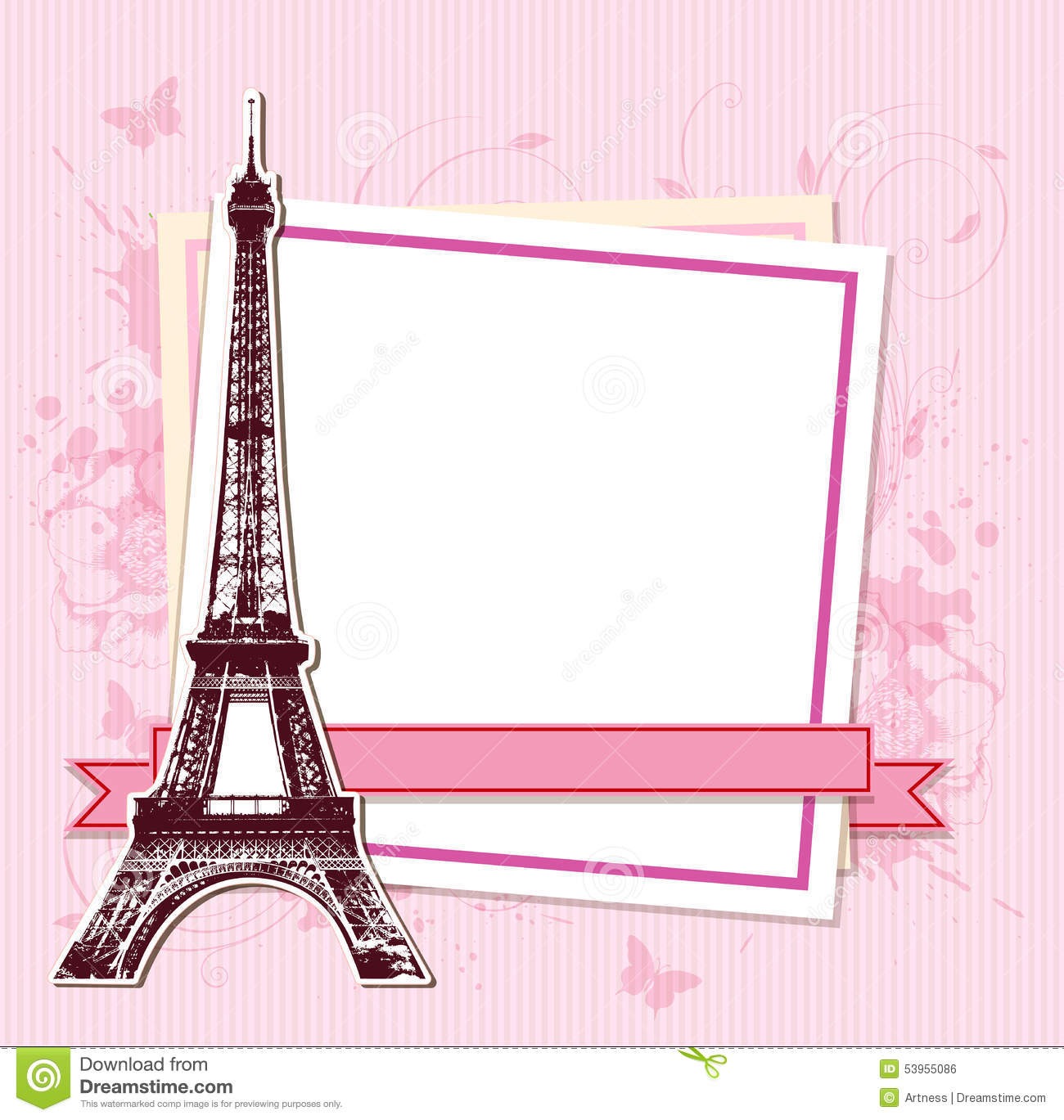 white frame with paris and the eiffel tower royalty free stock image