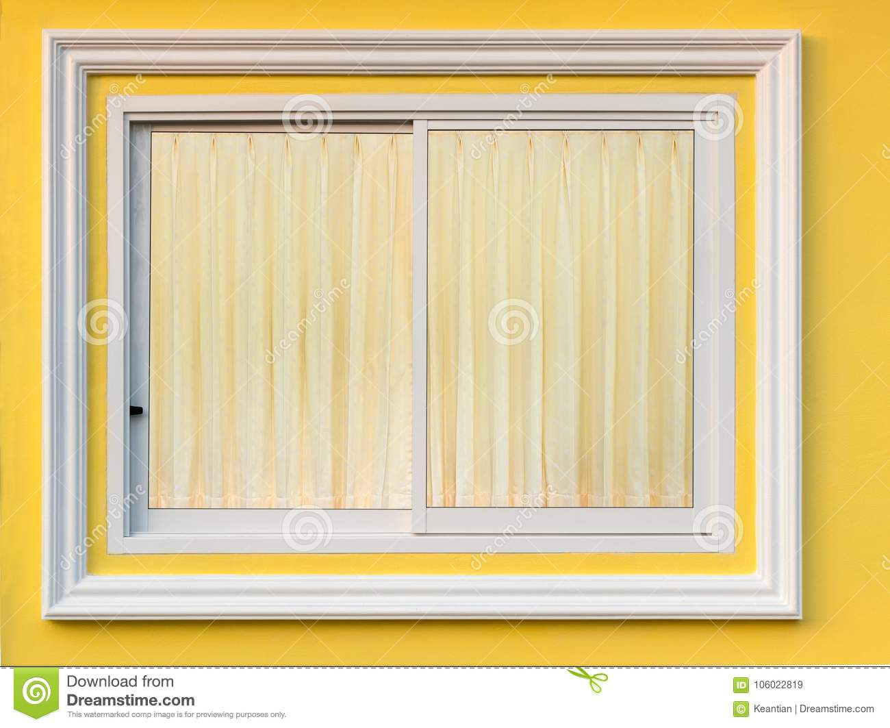 White Frame Window In Yellow Wall With Curtain. Stock Image - Image ...