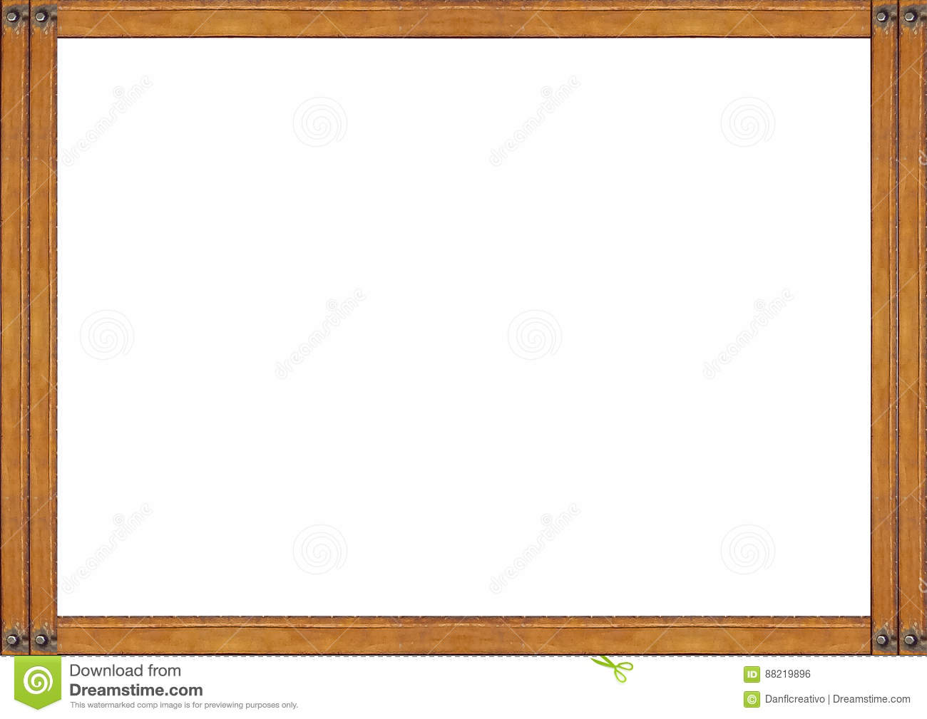 White Frame With Wooden Borders Stock Illustration - Illustration of ...