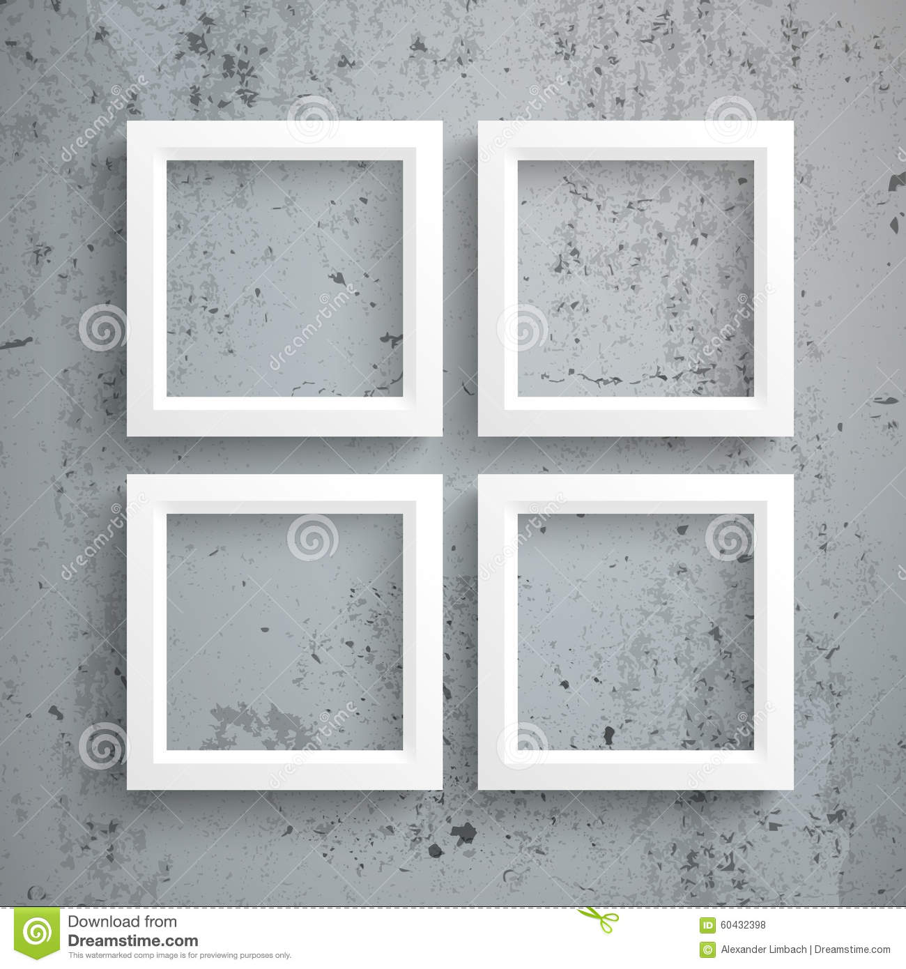 4 White Frames Concrete stock vector. Illustration of composition ...