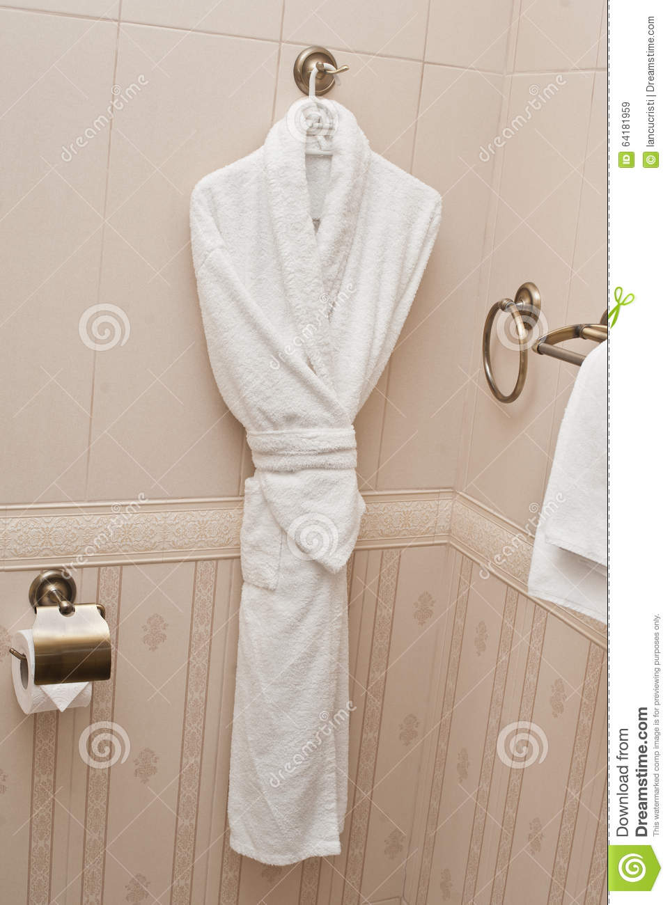 White Fresh Bath Robe Hang On Bathroom Wall. White Shower Gown And ...