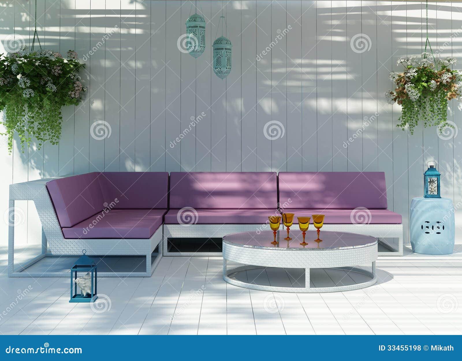 white fresh beach house in greek island with outdoor sofa ro