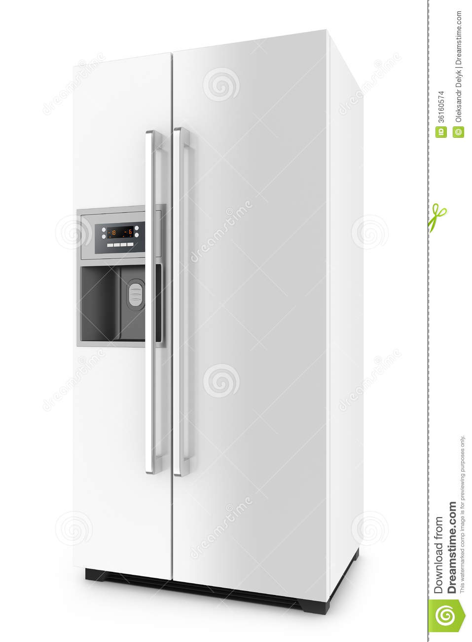 White Fridge With Side-by-side Door System Stock Illustration ...