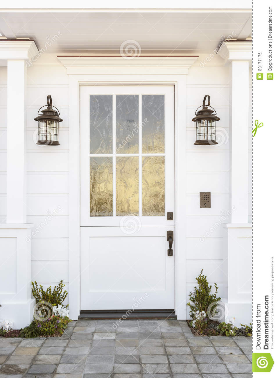 White Front Door To Classic Home Stock Photo - Image of building ...