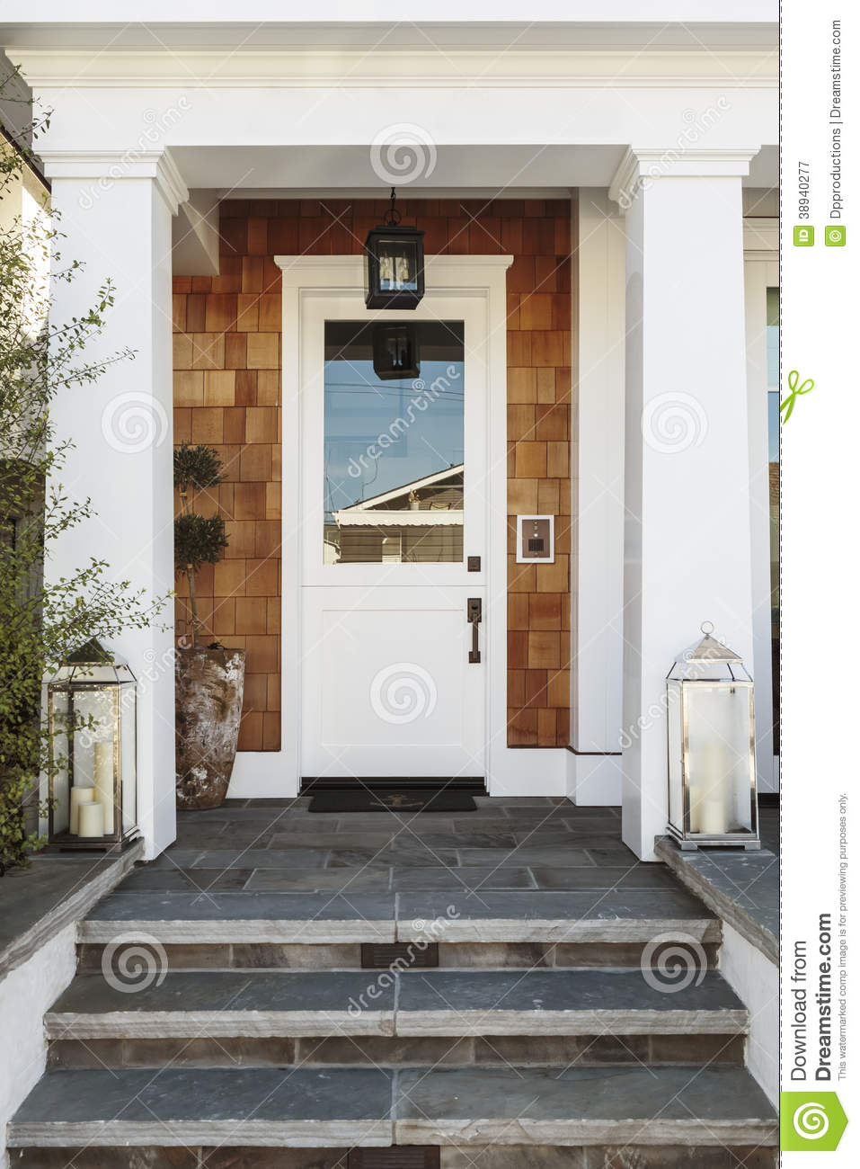 White Front Door To A Luxury Home Stock Image Image Of