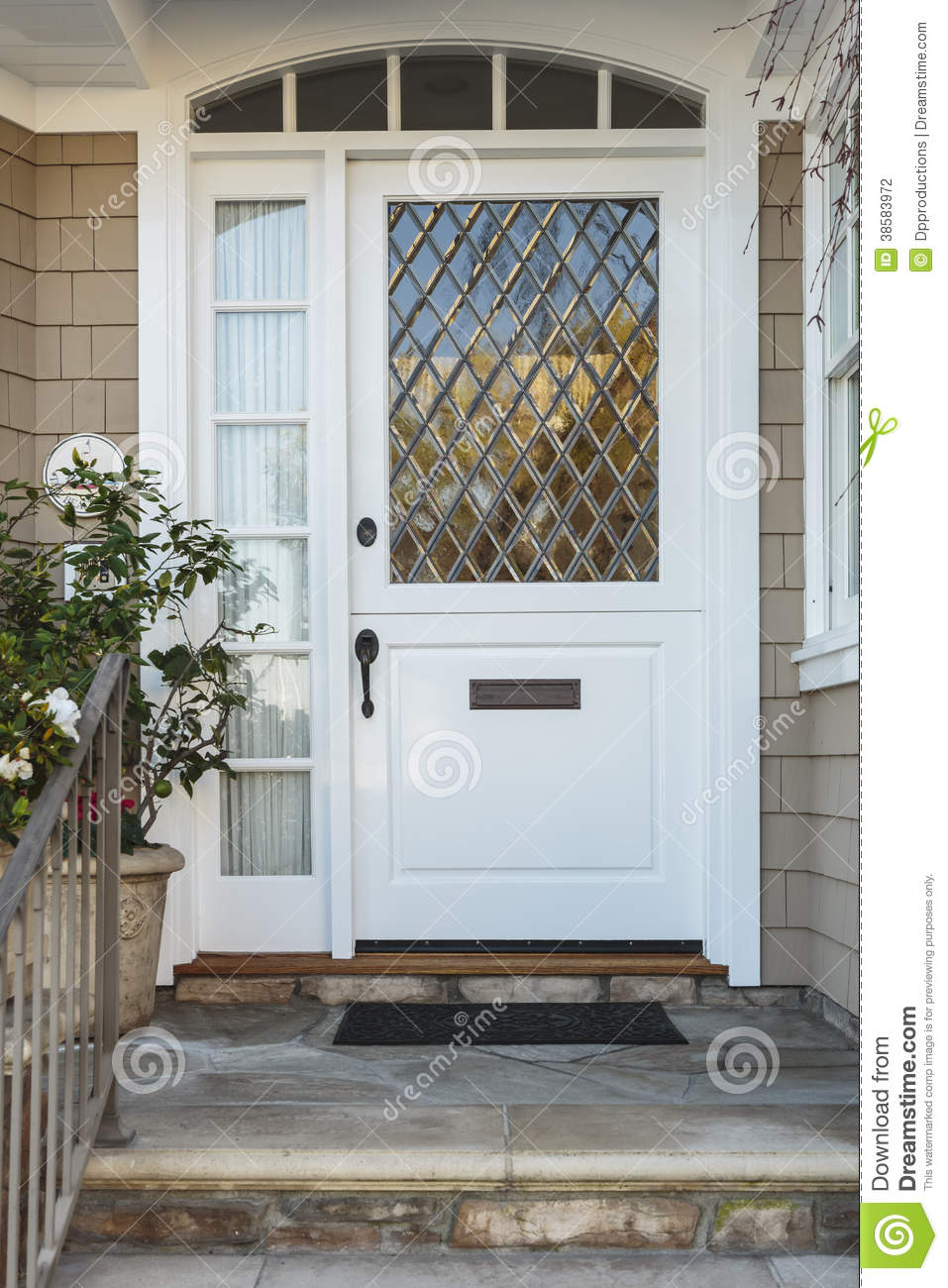 White Front Door Of Upscale Beige Home Stock Photography Image 38583972