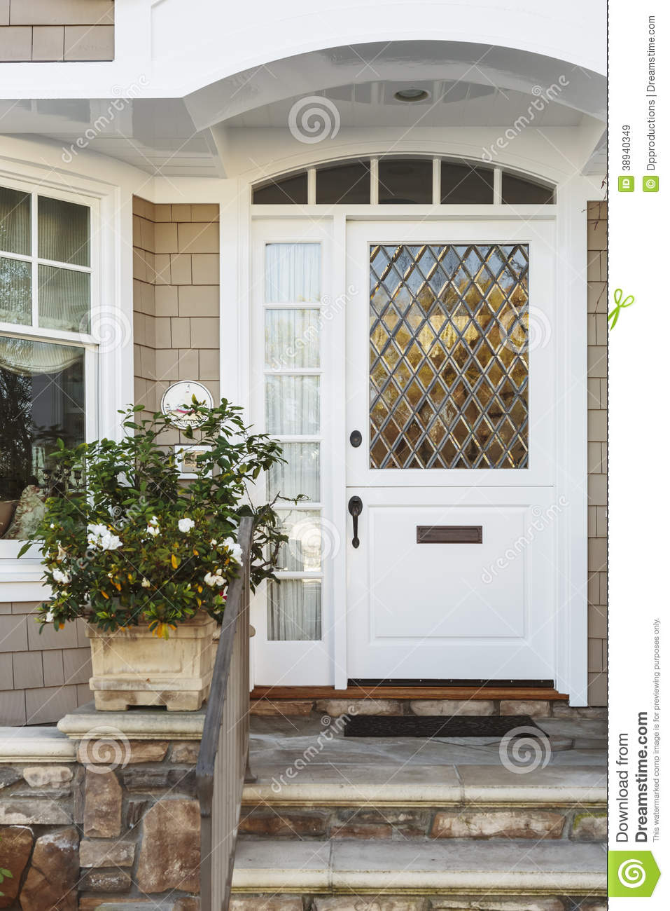 White Front Door Of Upscale Beige Home Stock Image Image