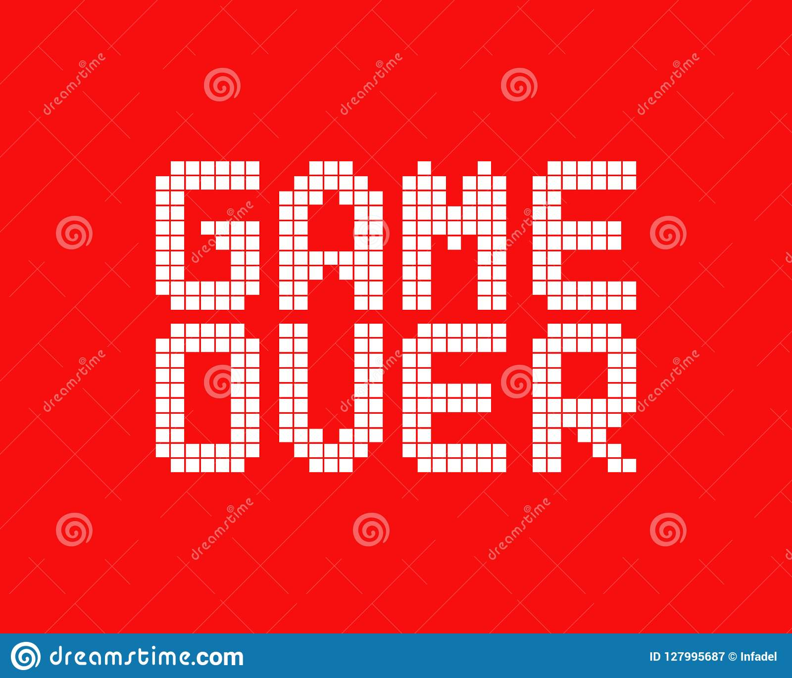 White Game Over Logo In Pixel Art Style Stock Vector