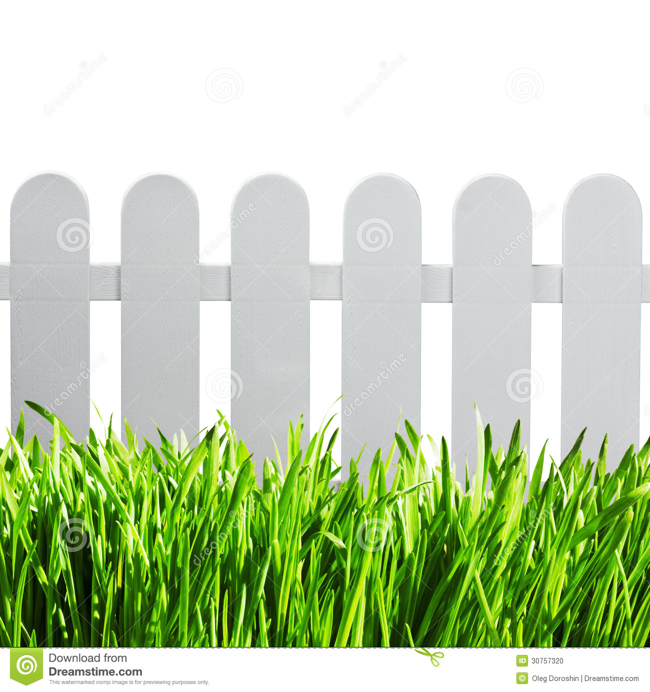 White Garden Fence And Green Grass Stock Photo - Image of background ...