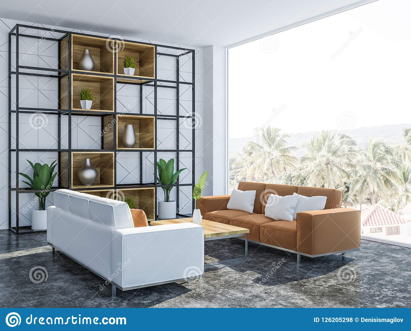 White Living Room Interior With Couches Side View Stock