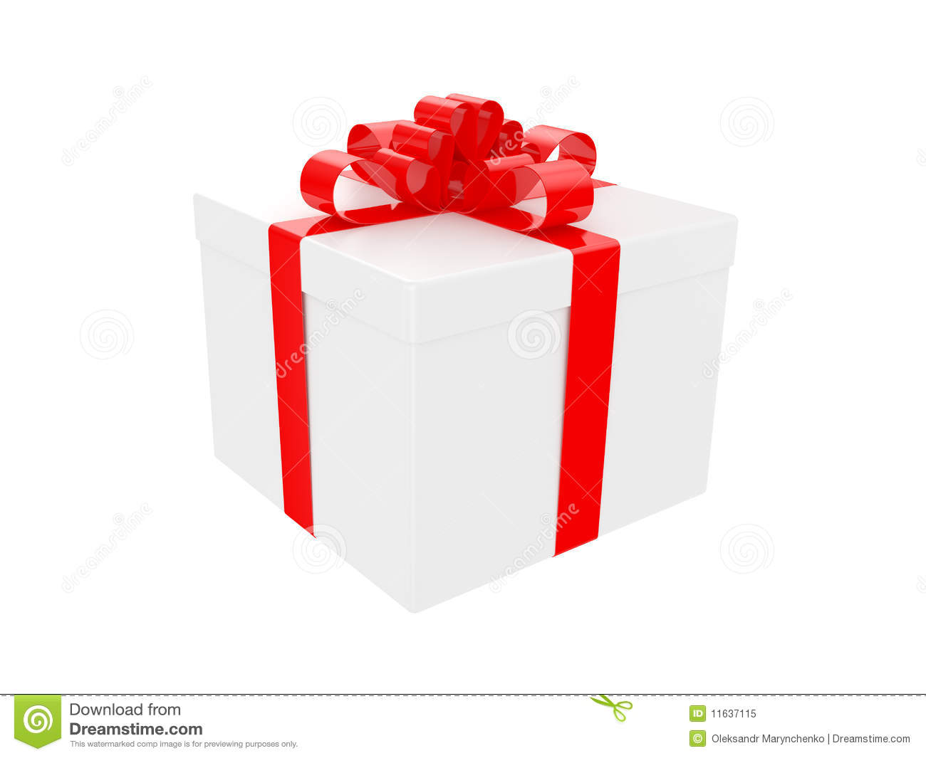 white gift box with big red holiday bow stock illustration. Black Bedroom Furniture Sets. Home Design Ideas