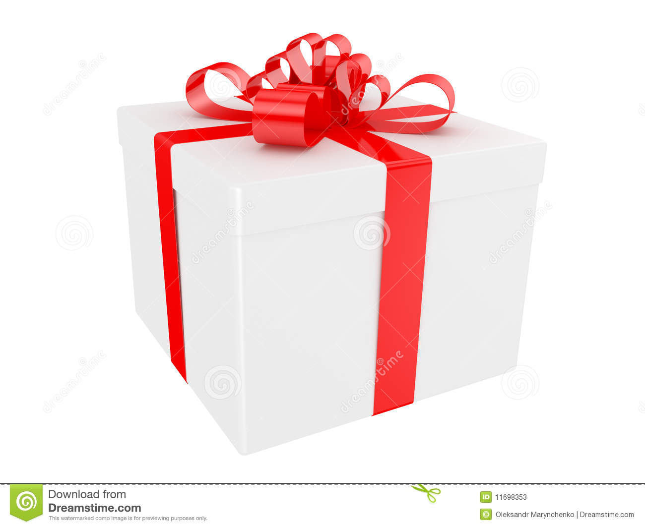 White gift box with big red holiday bow stock illustration