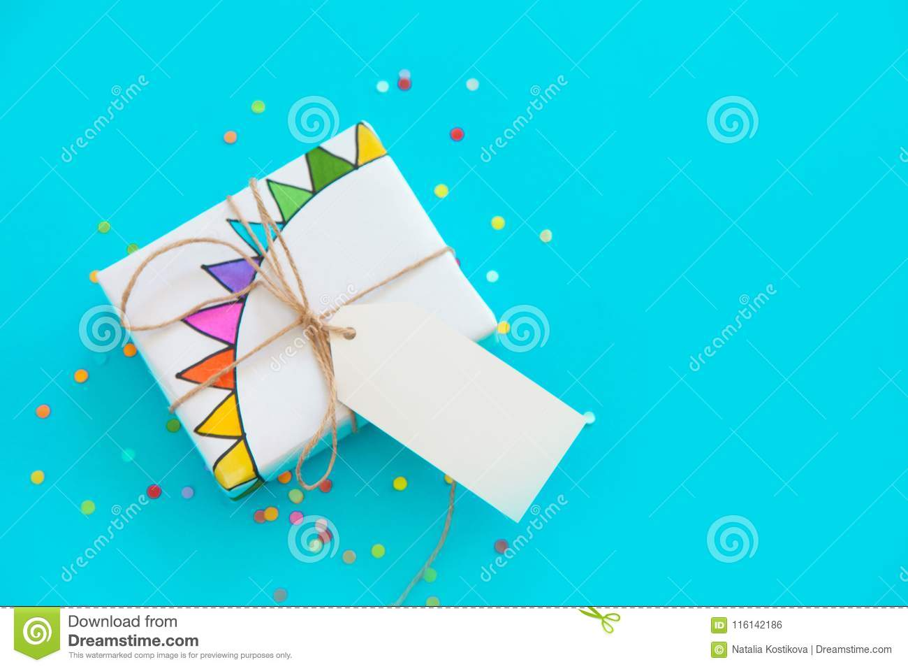 White Gift Box  Drawing Of A Colored Garland, Flags  Stock