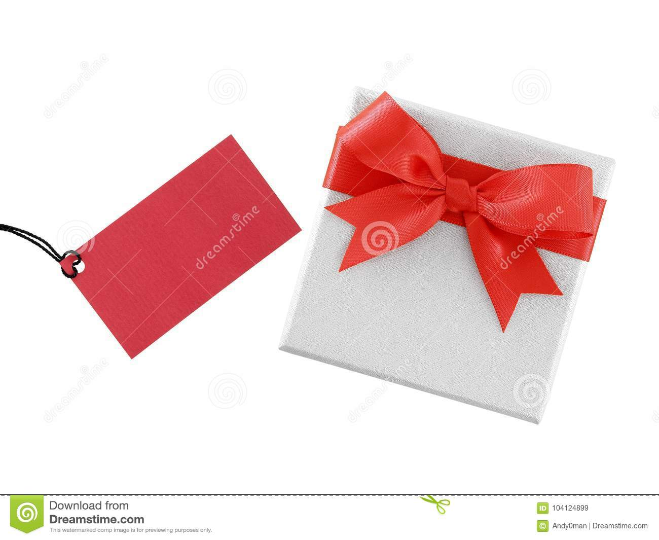 white gift box with simple red ribbon bow and blank crimson red greeting card for writing message isolated on white background