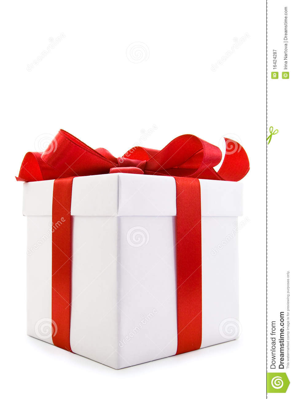 White gift box with red satin ribbon bow royalty free