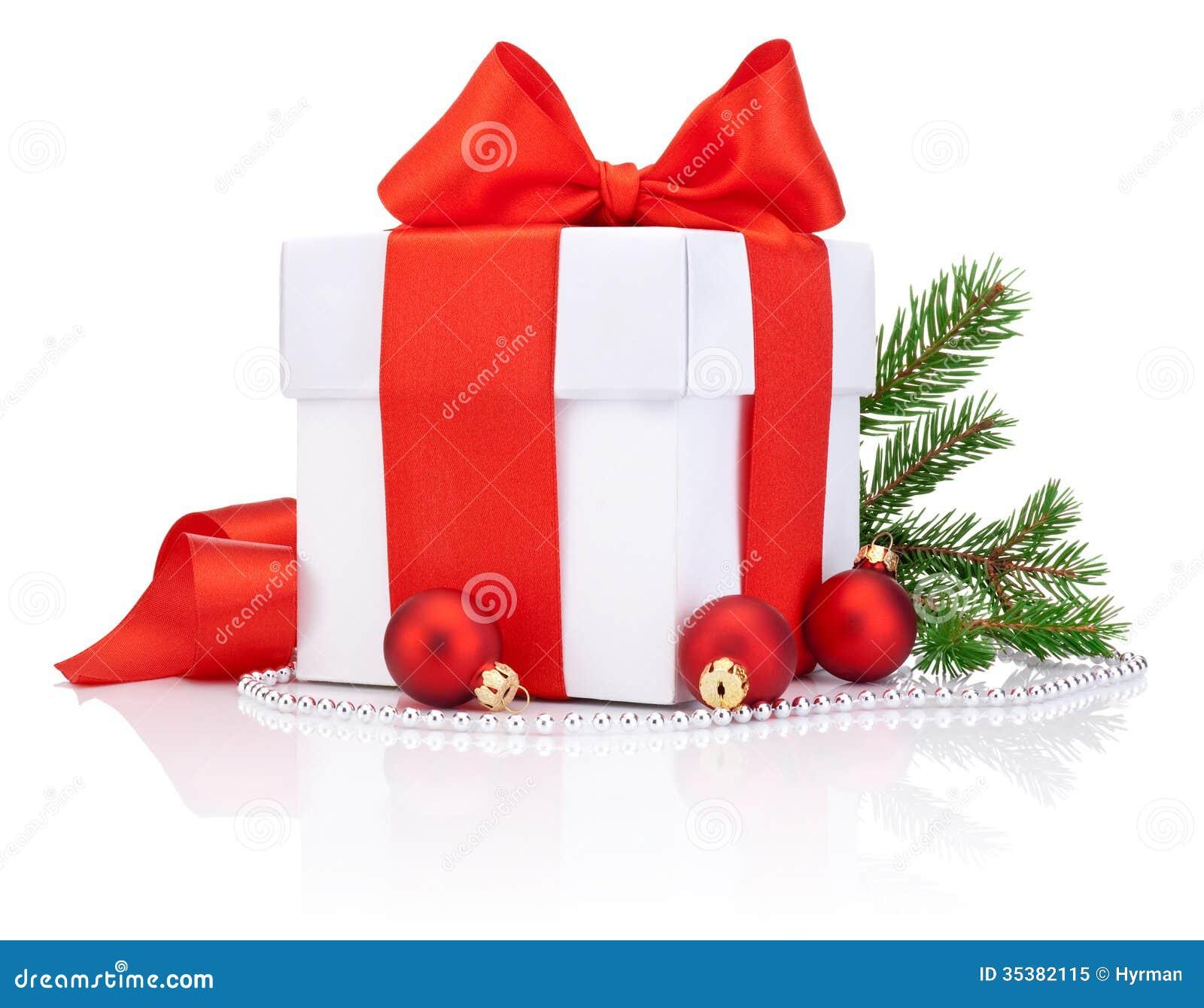 White gift box tied red satin ribbon bow three christmas