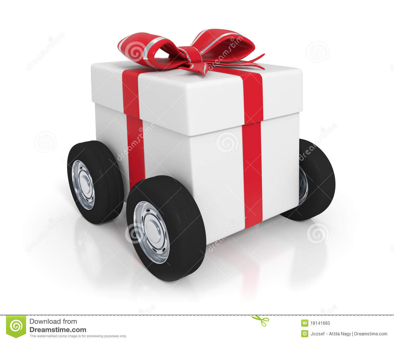 White gift box with wheels stock illustration Image of