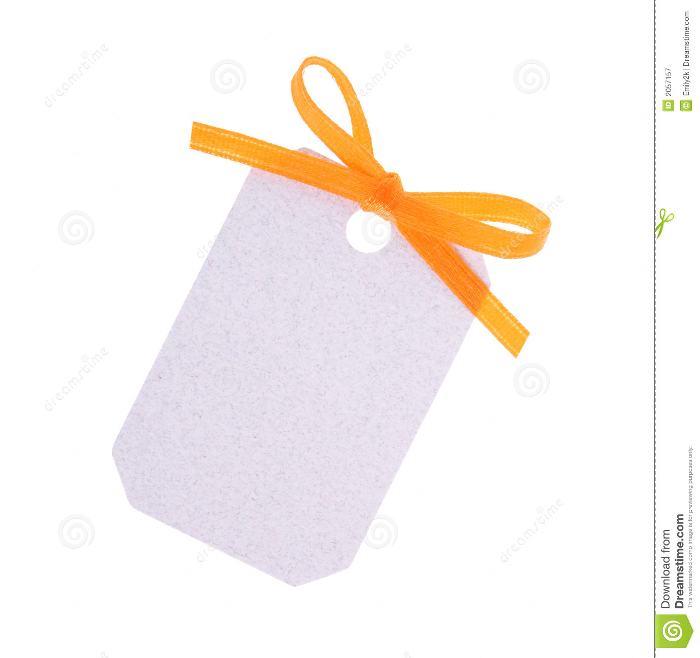 white gift tag with orange ribbon bow stock image