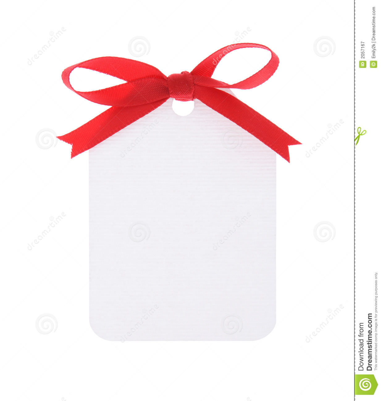 White Gift Tag With Red Bow Royalty Free Stock Photography - Image ...
