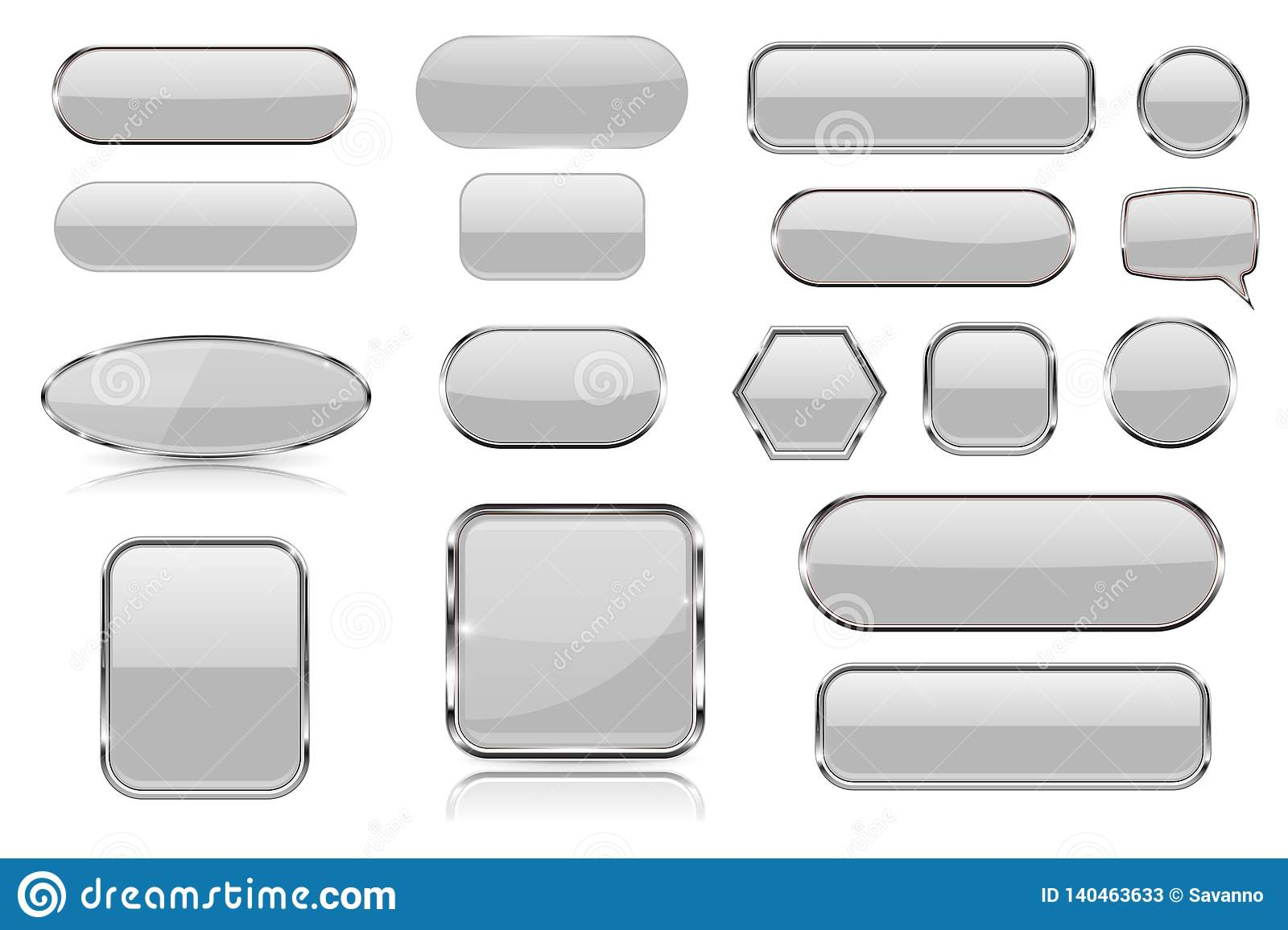White glass buttons. Collection of 3d icons with and without chrome frame