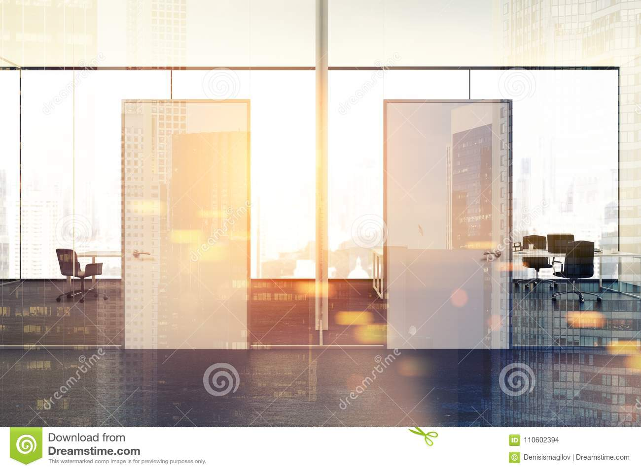 office interior doors. White And Glass Modern Company Office, Doors Toned Office Interior