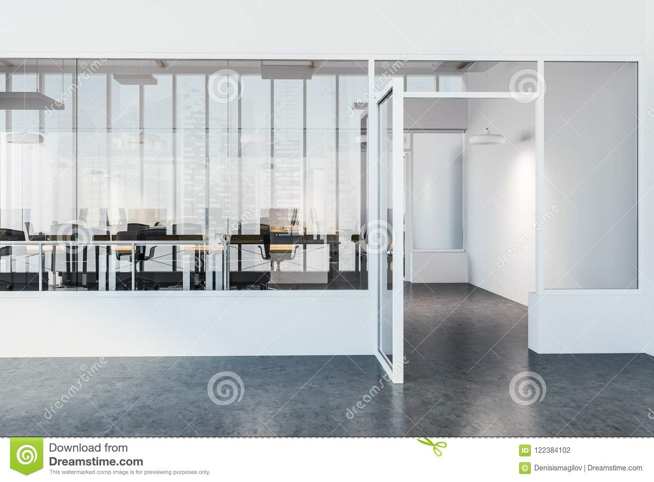 Lobby of a modern law company office with a concrete floor and computer desks standing in a row an open glass door 3d rendering mock up