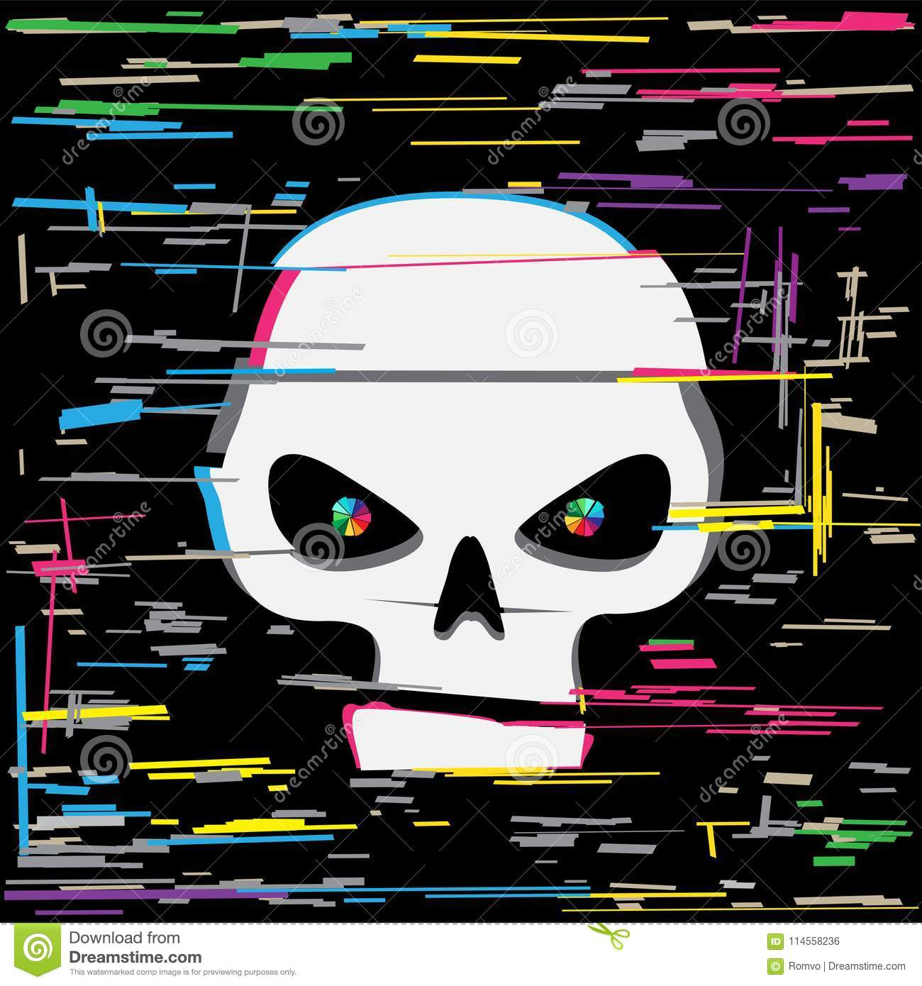 d3d6830555 White glitch hack skull and colors line interference on dark black  background. Computer crime hacker attack illustration. More similar stock  illustrations
