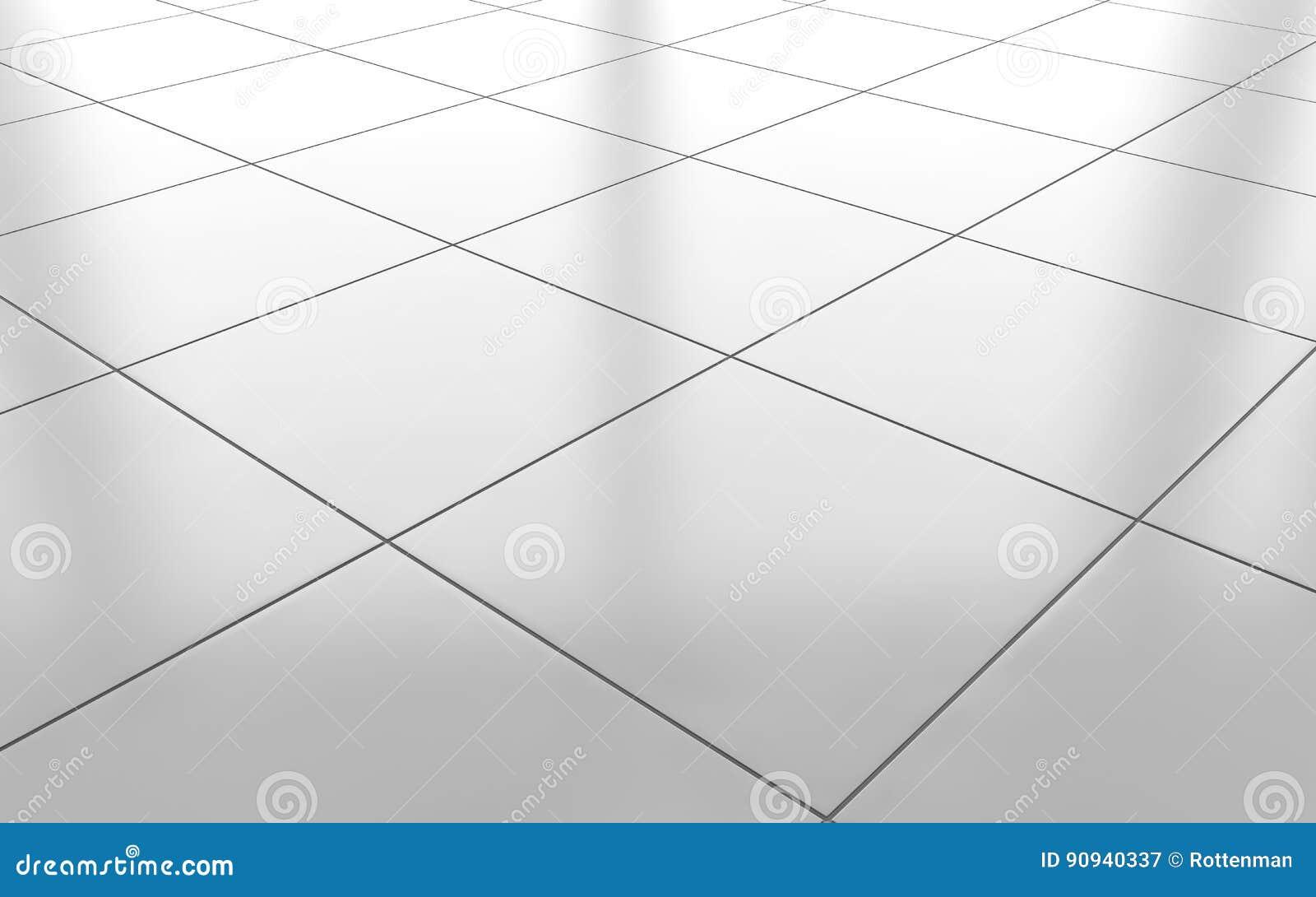 White Glossy Ceramic Tile Floor Background 3d Rendering Stock