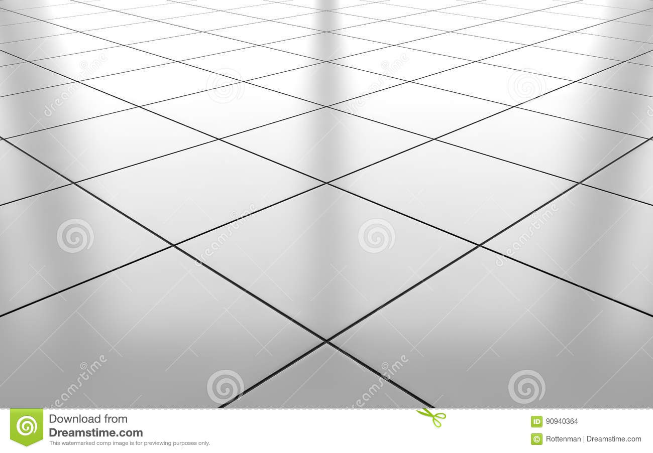 White Glossy Ceramic Tile Floor Background 3d Rendering Stock