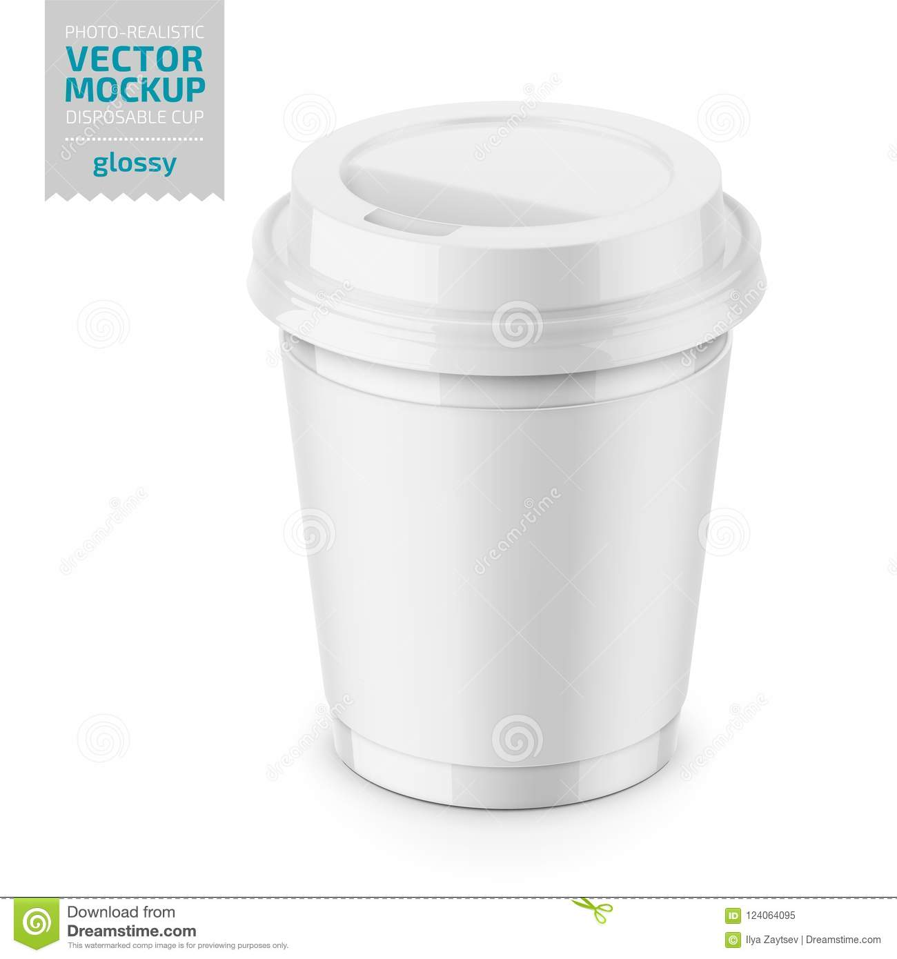 White Glossy Disposable Cup With Lid Template. Stock Illustration ...