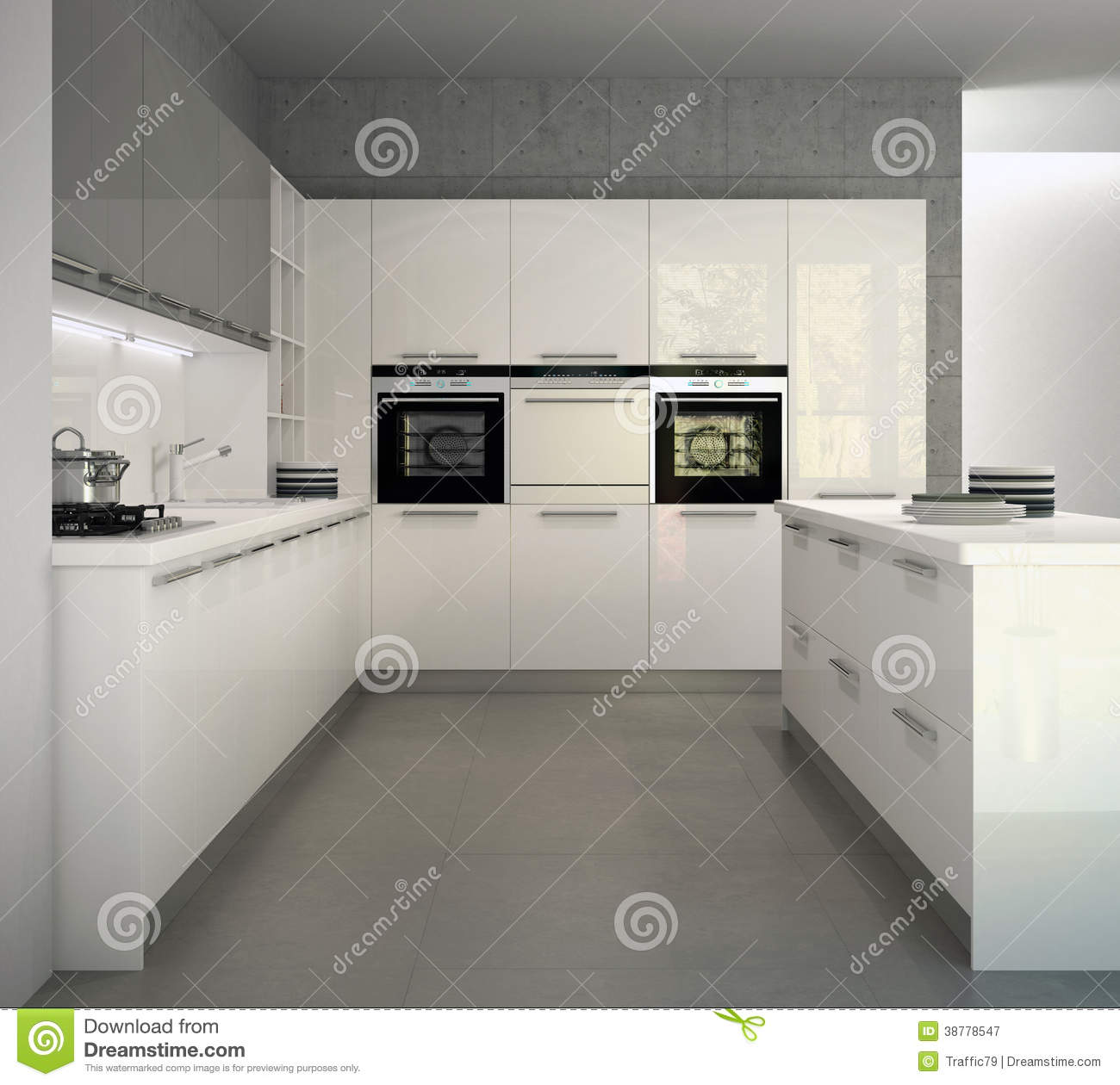 White glossy modern kitchen in an interior stock illustration ...