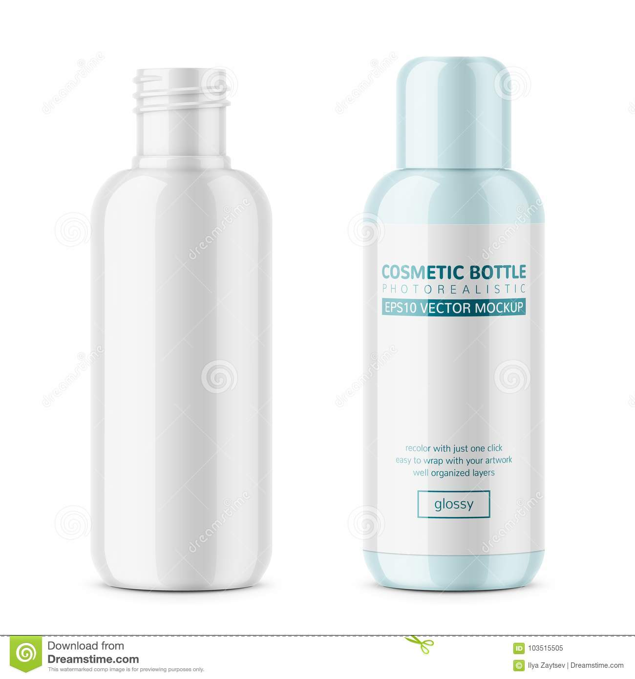 white glossy plastic cosmetic bottle template stock vector