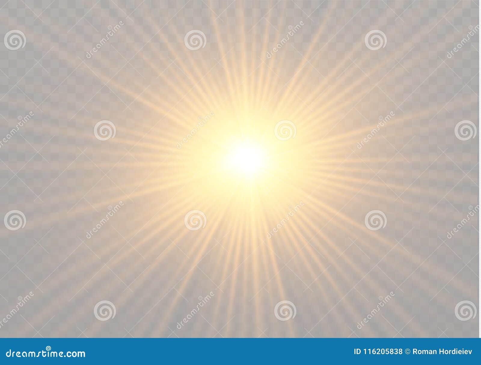 Yellow Glowing Light Burst Explosion On Transparent Background
